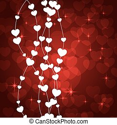 Amazing Valentines Card with white hearts. Vector...
