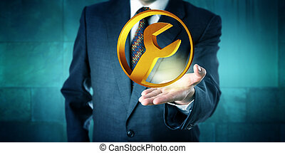 Manager Offering A Golden Circular Services Icon -...