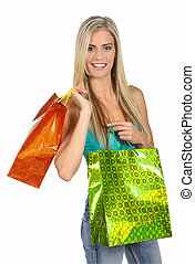 Shopping Lady with Colorful Bags - Lovely blond shopping...