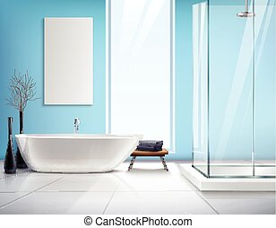 Realistic Bathroom Interior Design - Modern light bathroom...