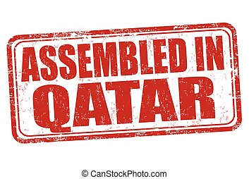 Assembled in Qatar sign or stamp - Assembled in Qatar grunge...