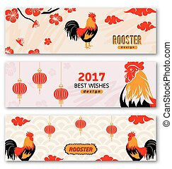 Collection Banners with Chinese New Year Roosters