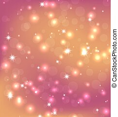 Illustration of Orange Red Abstract Christmas Background With Bright Stars, Bokeh and Snowflakes