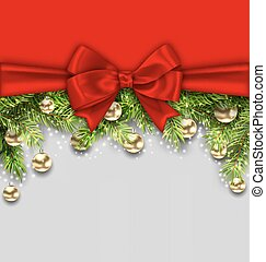 Christmas Holiday Background with Fir Twigs and Golden Glass Balls
