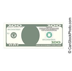 100 Dollar Banknote Isolated on White Background -...