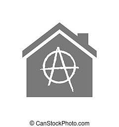 Isolated house with an anarchy sign - Illustration of an...