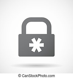 Isolated lock pad with an asterisk - Illustration of an...
