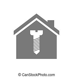 Isolated house with a screw