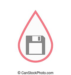 Isolated blood drop with a floppy disk - Illustration of an...