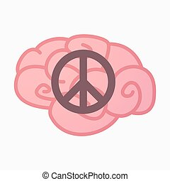 Isolated brain with a peace sign - Illustration of an...