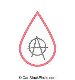 Isolated blood drop with an anarchy sign - Illustration of...