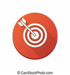 Isolated button with a dart board - Illustration of an...