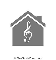 Isolated house with a g clef - Illustration of an isolated...