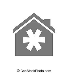 Isolated house with an asterisk - Illustration of an...