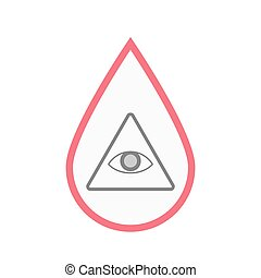 Isolated blood drop with an all seeing eye - Illustration of...