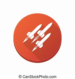 Isolated button with missiles - Illustration of an isolated...