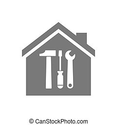 Isolated house with a tool set