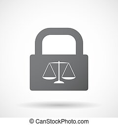 Isolated lock pad with a justice weight scale sign