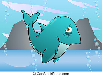 Cute purple Whale