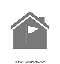 Isolated house with a golf flag - Illustration of an...