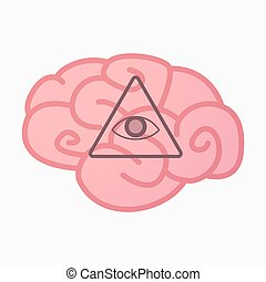 Isolated brain with an all seeing eye - Illustration of an...