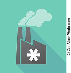 Long shadow factory with an asterisk - Illustration of a...