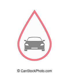 Isolated blood drop with a car - Illustration of an isolated...