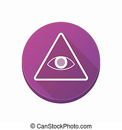 Isolated button with an all seeing eye - Illustration of an...
