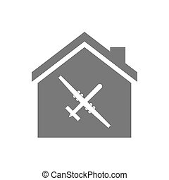 Isolated house with a war drone - Illustration of an...