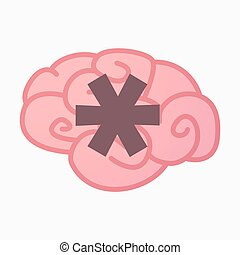Isolated brain with an asterisk - Illustration of an...