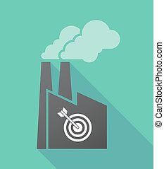 Long shadow factory with a dart board - Illustration of a...