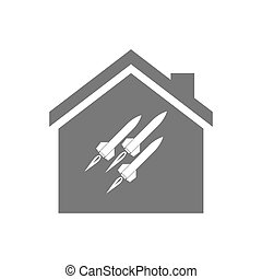 Isolated house with missiles - Illustration of an isolated...