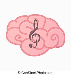 Isolated brain with a g clef - Illustration of an isolated...
