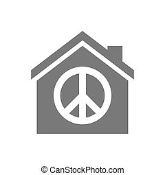 Isolated house with a peace sign - Illustration of an...