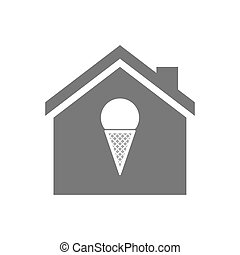 Isolated house with a cone ice cream