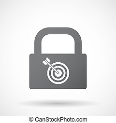 Isolated lock pad with a dart board - Illustration of an...