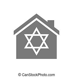 Isolated house with a David star - Illustration of an...