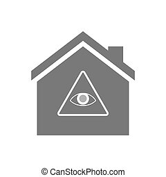 Isolated house with an all seeing eye - Illustration of an...