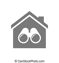 Isolated house with a binoculars - Illustration of an...