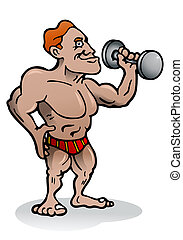 body building exercise - illustration of an body builder...