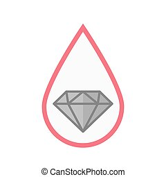 Isolated blood drop with a diamond
