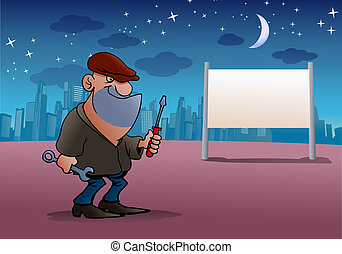 night Robber - illustration of a Cartoon Robber with blank...
