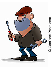 senior robber - illustration of a cartoon robber with blank...