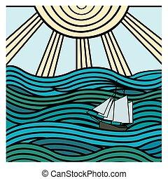 abstract ship at sea