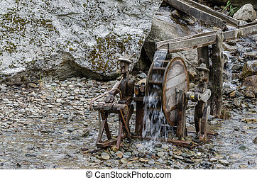 wooden construction of waterwheel - wooden construction of a...