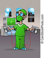heart specialists doctor - illustration of a kind and...