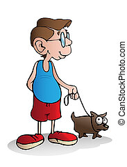 dog owner - illustration of a boy walking with his dog on...