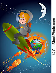 planet doomsday escape - Illustrations of an astronaut boy...