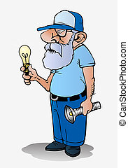electric technician - old electric technician holding bulb...