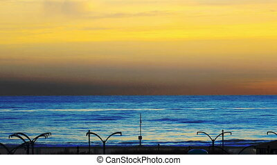 sunset over mediterranean sea - mediterranean sea sunset in...